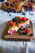 Swiss cake with honey and berries