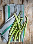 Green asparagus on a cotton cloth