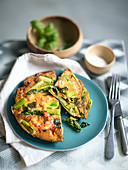 Frittata with shrimps and green asparagus