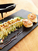 Scallops with couscous and teriyaki sauce