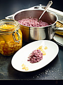 Red wine risotto with quince ragout