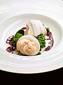 Sole rolls with salmon and red wine butter