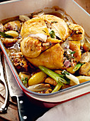 Corn-fed chicken with shallots and garlic