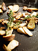 Fried porcini mushrooms with thyme
