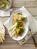 Gratin white asparagus with halibut