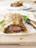 Lamb and spinach strudel with mint