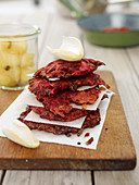 Grated beetroot biscuits with vanilla apples