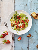 Summery strawberry and arugula salad with mozzarella