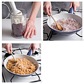 Spaghetti mit Rote-Bete-Sauce zubereiten
