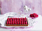 Easy no-bake chocolate raspberry tart