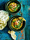 Red Lentil soup with Prawns
