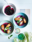 Hot Ricotta fritters, blueberry lime compote and ricotta cream