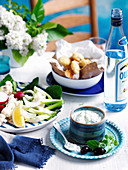 Zucchini Fritters and Crudites with Tzatziki