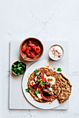 Teff souvlaki with easy kofte