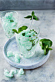 Mint granita in glasses