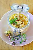 Pickled cauliflower mushrooms in a flip-top jar