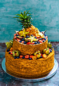 A two-tier fruit cake