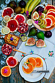 Various colourful fruits on a wooden table