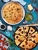 Focaccia with tomatoes, garlic and rosemary