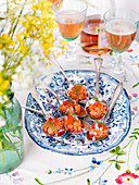 Salmon tartare with onions, dill and wine (Sweden)