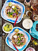 Tortillas with red onions and mango salsa