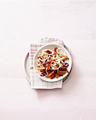 Radicchio salad with pears and blood orange
