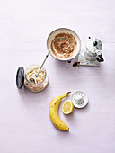 Ingredients for mocha oats with banana and chocolate