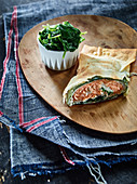Trout and spinach strudel