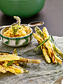 Saffron risotto with vegetable tempura