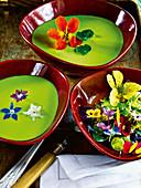 Nasturtium cress soup with flower salad
