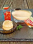 Coffee cream with marinated strawberries and tahiti vanilla ice cream