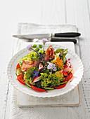 Bunter Salatteller aus dem Bauerngarten