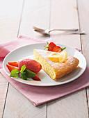 Fresh strawberry ice cream with warm lemon cake