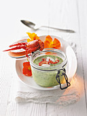 Cream of herb soup with crayfish