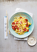 Shirataki noodles with chorizo (Japan)