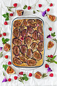 Baked millet with figs and raspberries