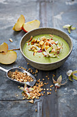 Green melon bowl with apples (vegan)