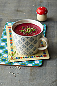 Brain Food cup of soup: beetroot, black salsify and nuts