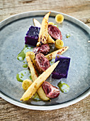 Wild rabbit fillets with Sousvide red cabbage, parsnip, pear and chervil