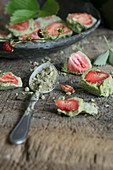 Strawberries in matcha chocolate