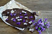 Homemade violet chocolate