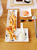 Grilled ginger prawns with wasabi mayonnaise