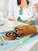 Schokoladen-Biskuitrolle
