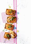 Buffalo mozzarella and chilli spelt pop tarts