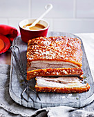 Slow-roasted pork belly with apricot sauce