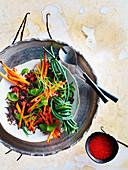 Wildreissalat mit Vanille, Süsskartoffeln und Schlangenbohnen