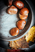 Chestnuts in shells (seen from above)