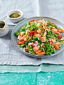 Rice salad with red tofu and vegetables