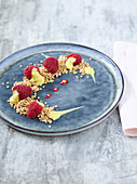 Coconut and raspberry crumble and mango mousse