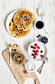 Healthy low GL breakfast with pancakes, nut mousse and muesli